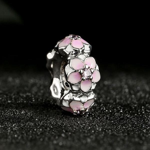 2017 Spring Magnolia Bloom Spacer Charms Beads 925 Sterling Silver CZ Enamel Flower Stopper Bead DIY Bracelets Jewelry
