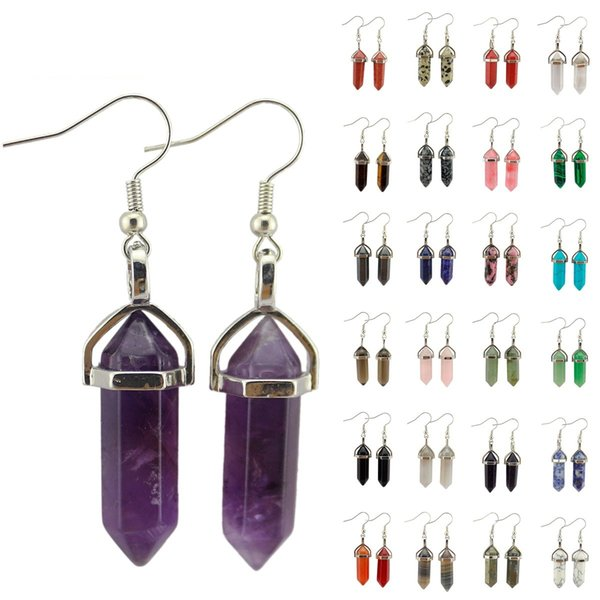 Fashion Hexagon Prism Natural Stone Earrings Point Chakra opal turquoise Gem Dangle Earrings Charms Women Gift Amulet Jewelry Various colors