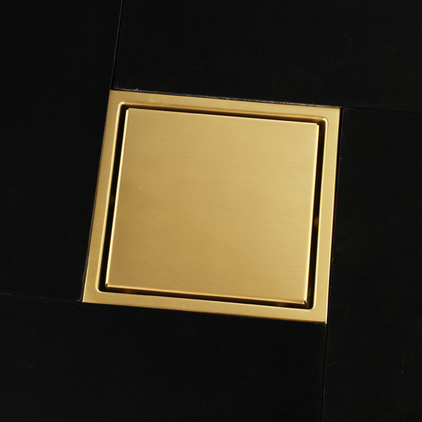 top popular Bathroom New Luxury gold 304 solid stainless steel 150 x 150mm square anti-odor floor drain bathroom invisible golden shower drain 2021