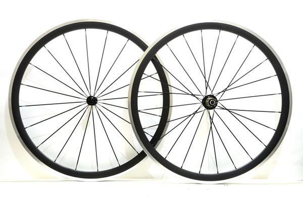 Free shipping Alloy Brake Surface wheels 38mm depth 23mm width Aluminum brake road bike carbon wheelset with Powerway R13 hub