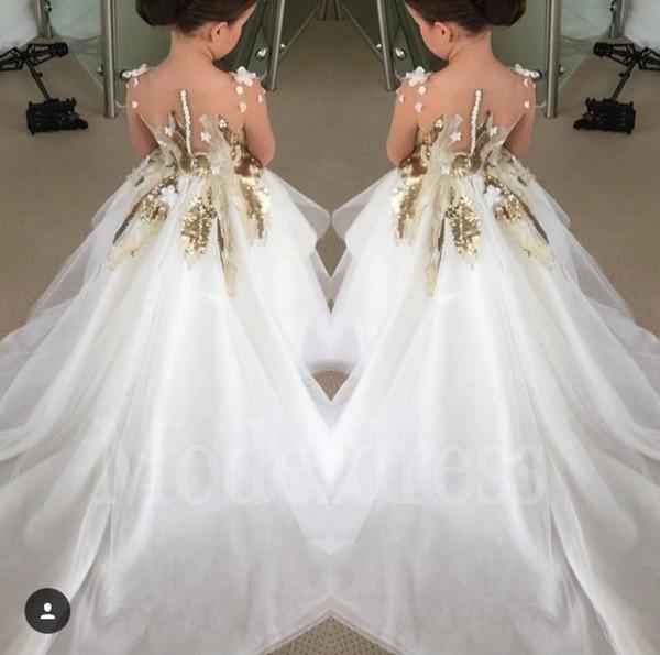 2019 Flower Girl Dresses nuovo modo per Matrimoni maniche lunghe Sequins dell'oro lungo il partito di spettacolo abiti Prima Comunione Dress For Teens Bambino