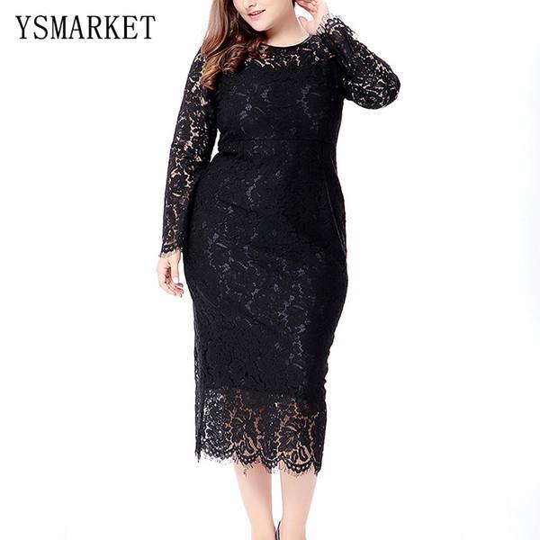 2017 Black All Lace Women Plus Size Dress 6XL Summer Elegant Ladies Party Vestidos Solid Sexy Full Sleeve O Neck Midi Dress 0082