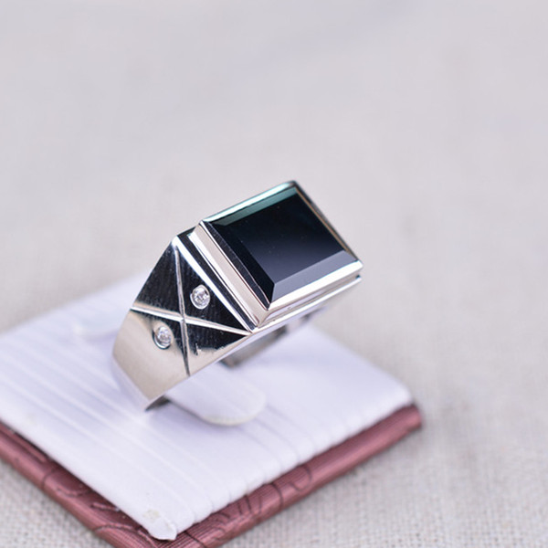 Vintage man sapphire ring 10*13mm natural dark blue square cut sapphire 925 solid sterling classic man silver ring gift for father's day