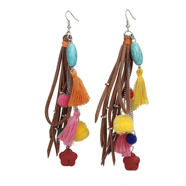 Main Tibétain Tibétain Turquoise alliage boucles d'oreilles coton gland boule de laine stud boucles d'oreilles accessoires prix d'usine en gros livraison gratuite