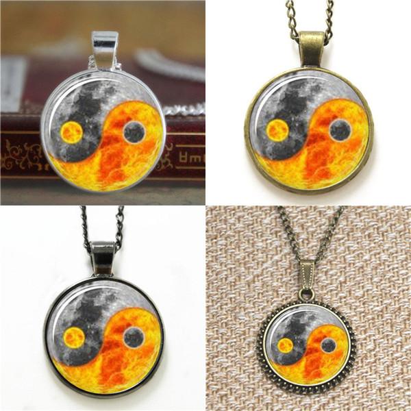 10pcs Ying Yang Sun and Moon Pendant Necklace keyring bookmark cufflink earring bracelet