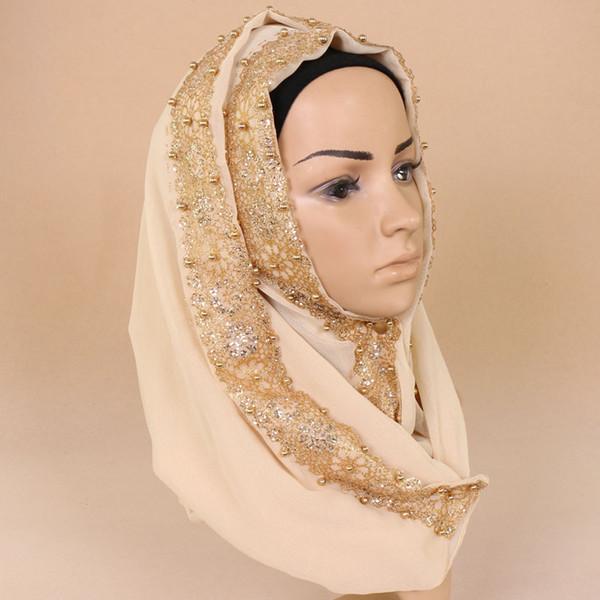 women chiffon silk gold beads glitter plain scarf shimmer hijab muslim pearl nice 9 color scarves/shawls 180*85cm YW61