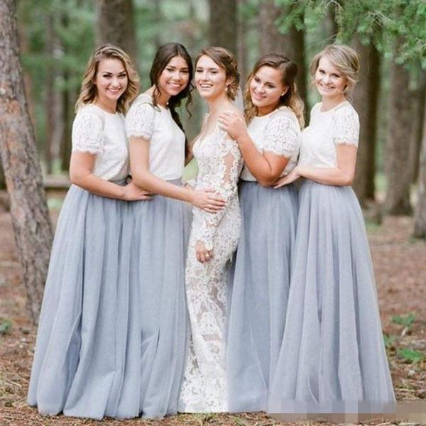 Custom Made 2019 Gray Long Bridesmaid Dresses Jewel Cap Sleeves A Line Tulle Boho Long Junior Bridesmaids Gowns