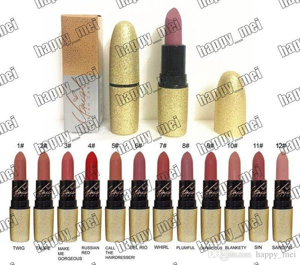 best selling Free Shipping ePacket New Makeup Lips Gold Tube Matte Lipstick!12 Different Colors