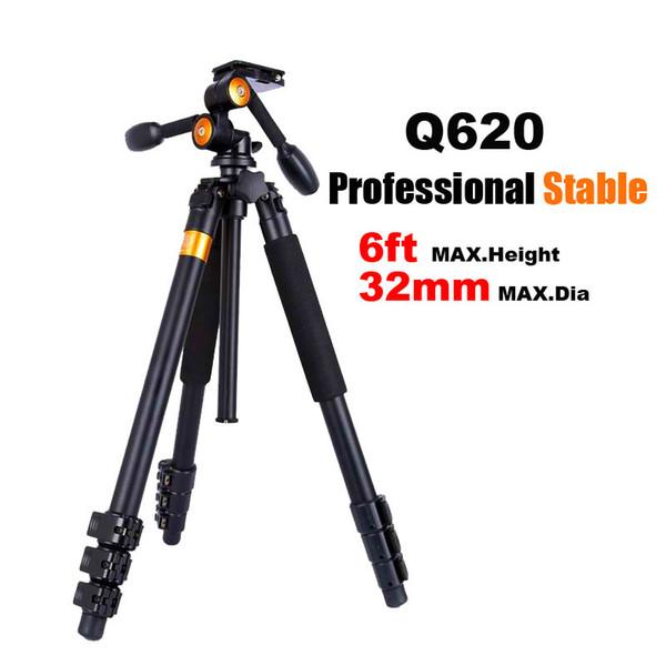 Vente en gros- QZSD Q620 Professional DSLR Caméra vidéo Trépied + Tête Panoramique Stable Lourd Support de Caméra pour Téléobjectif Enregistreur Caméscope