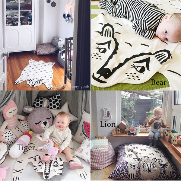 Baby Blankets Cartoon Lion Tiger Bear Blanket Cotton Sleeping Pads Air Conditioning Quilt For Kids Bedroom Carpet Mat Hot 553