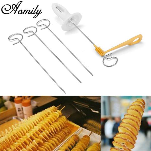4 teile / satz Edelstahl Kartoffel Twister Tornado Slicer Manuelle Cutter Spiral Chips Küche CookingPotato Werkzeuge Gadgets