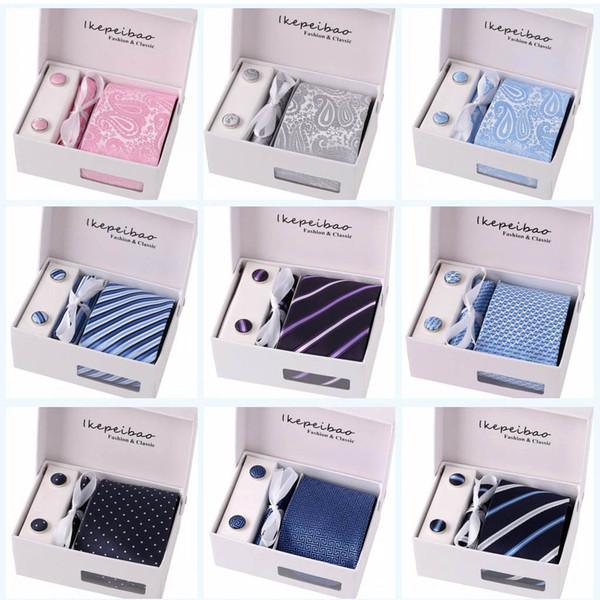 Hombres Corbatas Corbatas Anchas Gravata Masculinas Corbatas Jacquard Corbata tejida Set Gemelos Corbatas Hanky Conjunto Negocios Vacaciones de boda