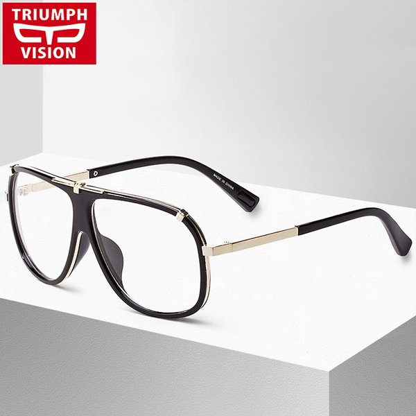 Al por mayor-TRIUMPH VISION Black Pilot Eyewear Frames Men Brand Big Spectacle Frame Miopía Optical Eye Glasses Male Clear Lens Eyeglasses