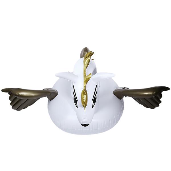 Gigante inflable Pegasus Flotante Rideable Piscina Juguete Balsa flotante Fila flotante Cisne blanco Fila flotante Para vacaciones Agua + B