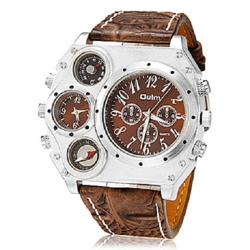 OULM Men's Watch Military Dual Time Zones Compass Thermometer Japanese Quartz Big Face Special Quartz Men's Wrist Watch