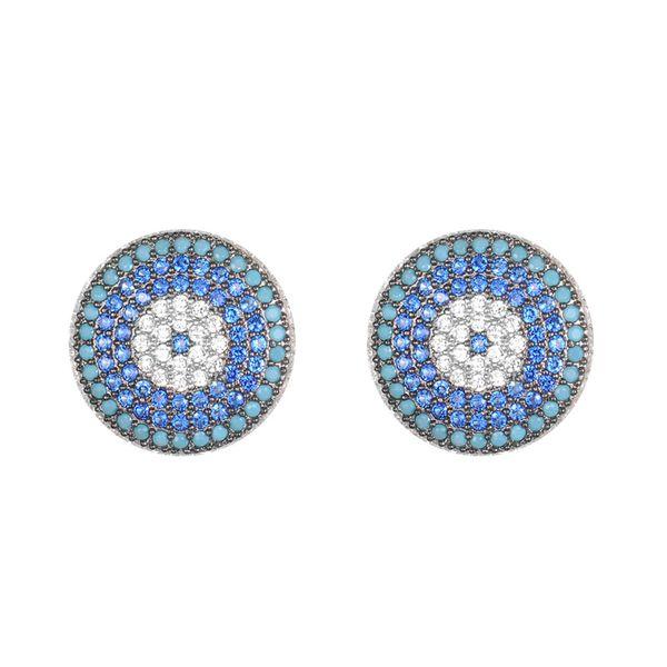 KIVN Fashion Jewelry Spiritual Turkish Evil eye Pave CZ Cubic Zirconia Earrings for Women Wedding Christmas Birthday Gift