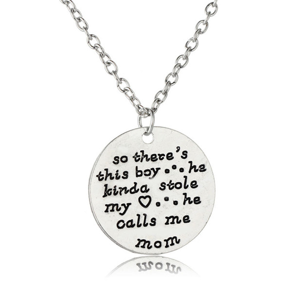 Pendant Necklace Silver Hand Stamped So There's This Boy He Kinda Stole My Heart He Calls Me Mom Mother's Day Gifts Love Son&Mom