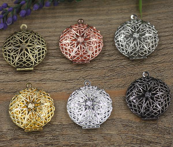 27*7MM Silver/antique bronze/rose gold/black gun round filigree photo locket charms jewelry, copper metal picture frame pendants wish box