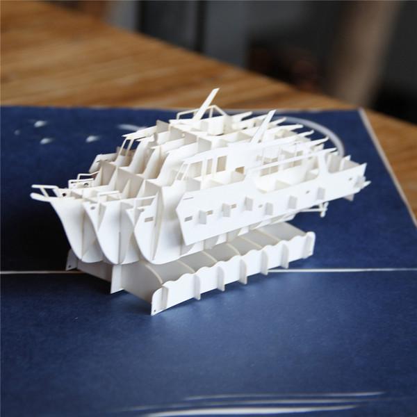 3pcs/lot Laser Cut Wedding Invitations Handmade 3D Yacht Pop UP Greeting  Card Birthday Gift