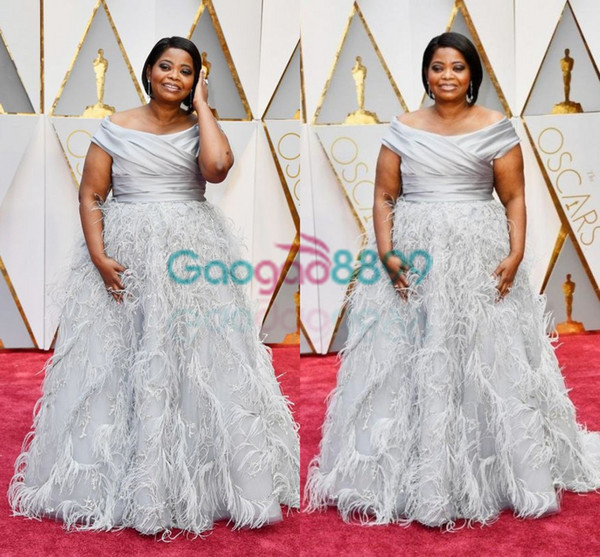 4a377574e9f 2017 Oscars Octavia Spencer in Marchesa Award Feather Puffy Evening Formal  Dresses Off-shoulder Dubai Arabic Plus Size Prom Dresses