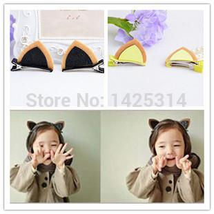 48PC!Two-dimensional Cat Ear Partten baby girls Hair clip Children sequined headdress Baby lovely Non-woven Mixed Colors hairpin