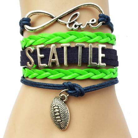 10pcs diy handmade hot sale diy jewelry new Infinity Love National Football League Team Bracelet Navy and Neon Green Leather - Customizable