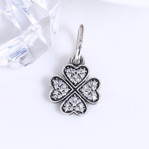 2017 Mother's Day 100% Real 925 Sterling Silver four Leaves CZ Charms European Charms Beads Fit Pandora Bracelet DIY Jewelry