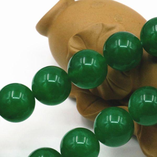 Chaîne de Perle Ronde 6mm 15inch Jade Pierre en Vrac Bijoux DIY Vert
