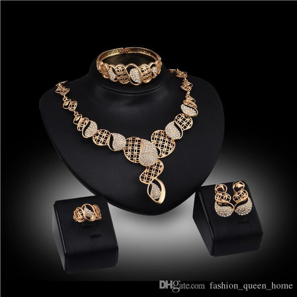 12set Austrian Crystal Hollow Design Jewelry Set Women's Gold Color Wedding Leaves Necklace Earrings Bracelet Ring Sets F10343