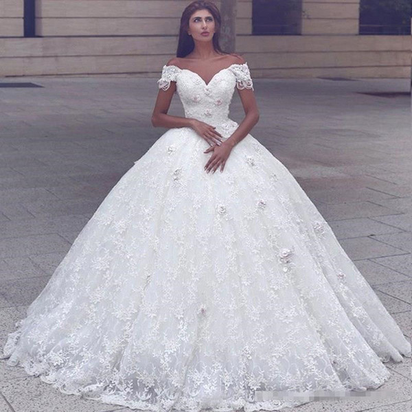 2017 Vintage Off The Shoulder Full Lace Ball Gown Wedding Dresses ...