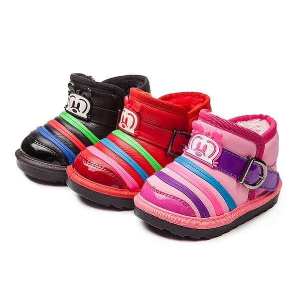 Hot sale children boots lights ankle short cartoon striped thick warm winter snow boots shoes kids girls flat sole black red pink 25-30#