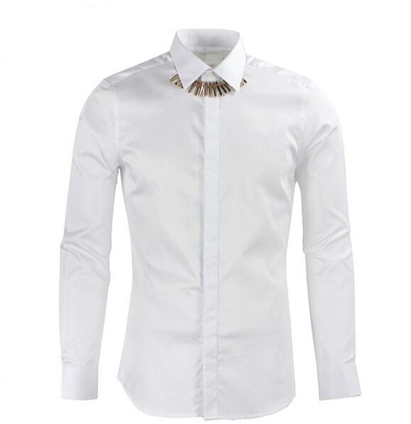 Luxury Cotton Men Shirt Brand Clothing Collar Metal Bones Necklace Design Long Sleeve Shirts Casual Black White