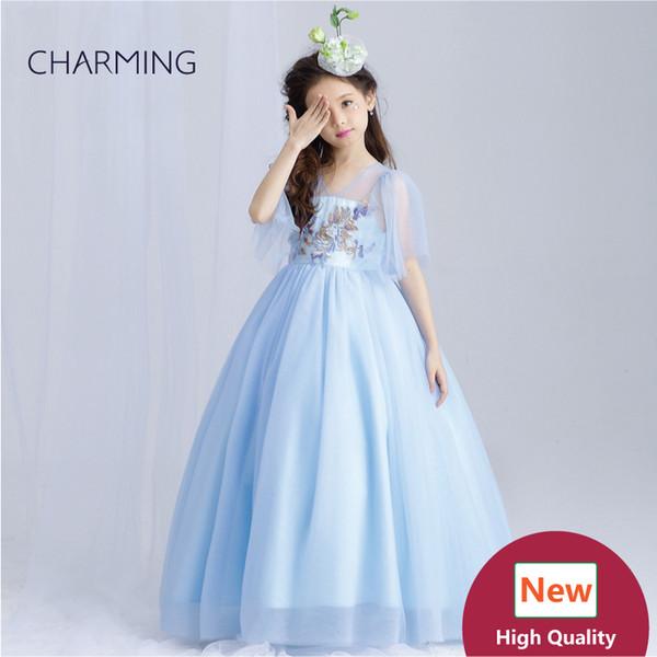 Light blue prom prom Girls pageant dress High quality designer dresses real photo China wedding dress beach wedding dresses