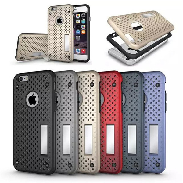 Hard Firm Mesh Protector Phone Cases Heat Radiation PC Hard Back Cover With Holder Stand For Iphone 6 6S Plus Skin Shell