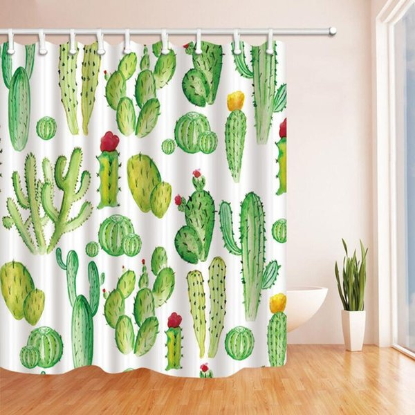 Cactus Shower Curtain Bathroom Decor Green Plant Waterproof Polyester Fabric Home Bath Accessories Curtains Sets 70 X 70 Inch With Hooks
