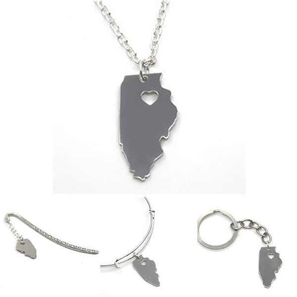 US State map necklace Illinois island silver tone Illinois necklace bangle keyring bookmark