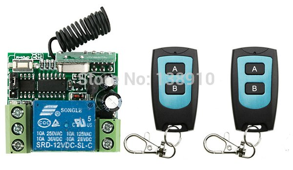 Wholesale- DC12V 1CH 10A RF Wireless Remote Control Switch System 2X Transmitter + 1 X Receiver,315/433 MHZ /lamp/ window/Garage Doors