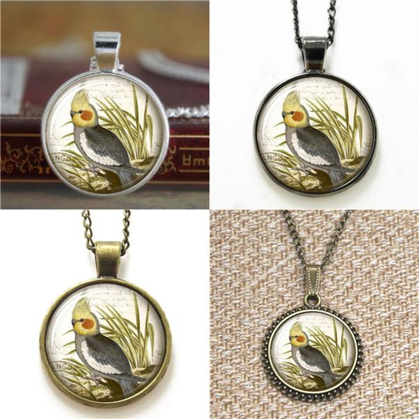 10pcs Cockatiel Pendant Victorian Bird 26 Glass Photo Cabochon Necklace keyring bookmark cufflink earring bracelet