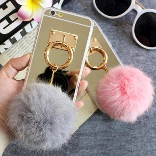 Mirror Ball phone Case for Iphone 5 5S 6 6S Plus 7 7 plus for Samsung S6 Edge S7 S7 Edge S8 Fuzzy Soft Detachable Real Rabbit hair ball