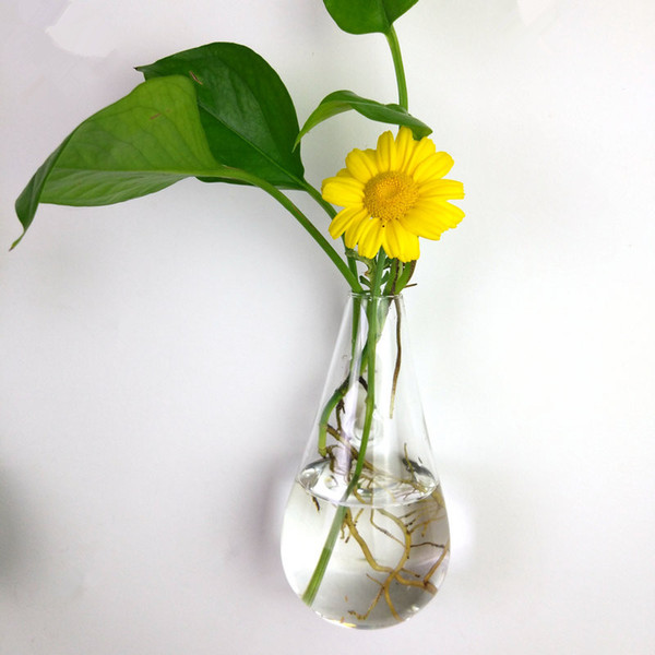 Clear climbing wall glass flower vase water droplet shape air plants terrarium flower hanging vases for Christmas Ornaments home decor