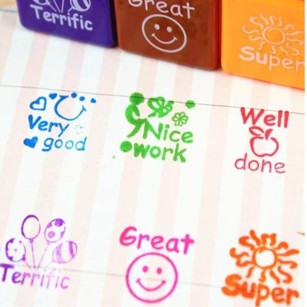 Al por mayor-6pcs / set Teachers Stamper alabanza Sellos de la recompensa de la etiqueta engomada de la escuela de papelería diy inglés animar a las palabras de halloween navidad