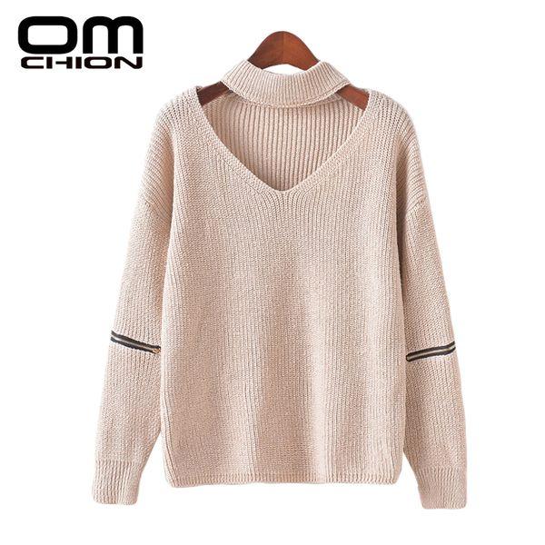 All'ingrosso-OMCHION 2016 inverno pullover scollo a maglia scollo cavo appeso scollo a V con cerniera autunno maglione donne maglioni e pullover MY73