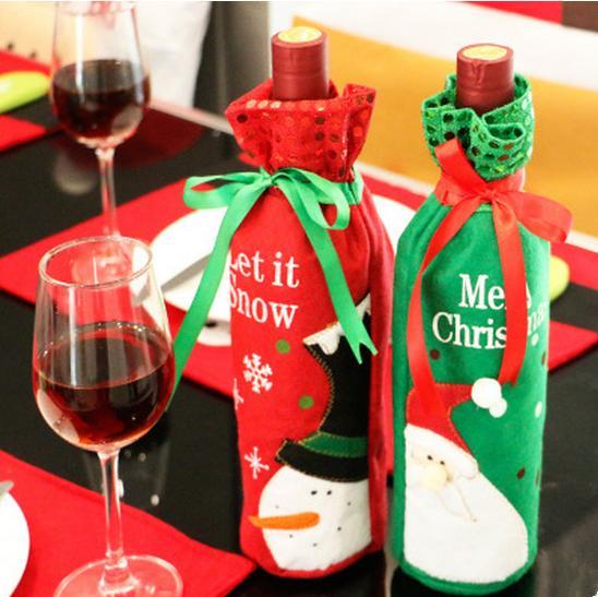 Sankt-Schneemann Weinflasche Cover Tasche Weihnachten Tischdekoration Festival Weinflasche Abdeckung Taschen Weihnachtsgeschenk