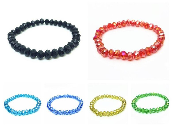 Brand new Colorful Crystal Bracelet Adult Girl FB040 mix order 20 pieces a lot Beaded, Strands