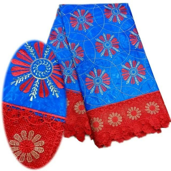 5 Y/pc Fashionable blue Bazin lace fabric and red water soluble flower design embroidery african cord lace for dress LBL21-5