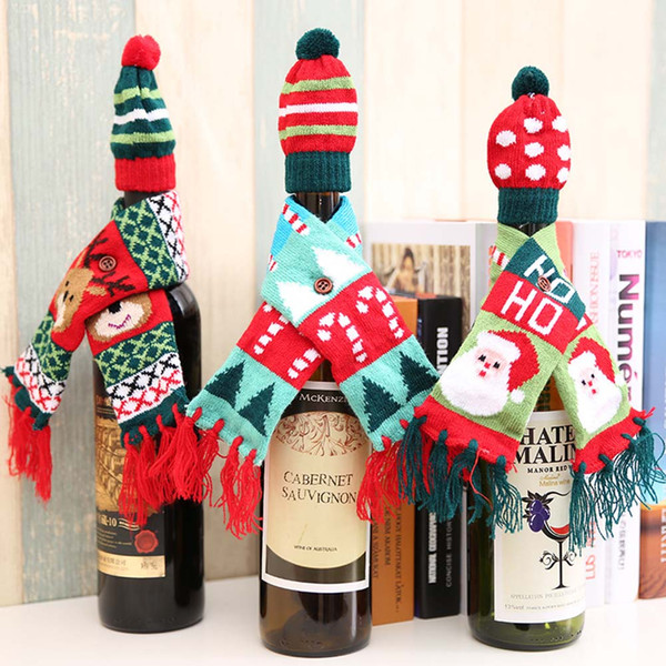 Рождество Милый Узор Бутылка Красного Вина Вязаный Шарф Hat Обложка Для Обеденный Стол Декор Сумка Украшения Орнамент