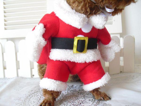 Christmas Cat Clothes Pet Dog Cat Costume Santa Claus Costume Winter Christmas Pet Coat Apparel Cotton Clothes for Cat dog 27S2