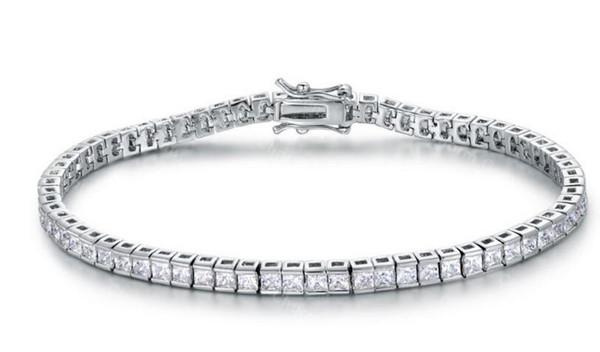 Elégant diamant carré de tennis Bracelet Bracelet plaqué or platine plaqué or zircon
