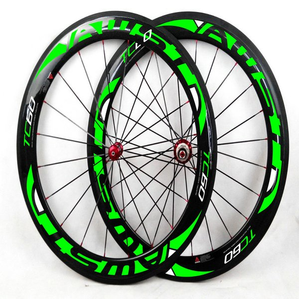 AWST 60mm full carbon fiber road bike wheels green decal bicycle carbon wheels clincher 700C china bike wheels free shipping