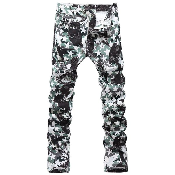 Top Quality Original Design Men's Printing Jeans Punk Rock DS DJ Camo Printed Painted Slim Jeans White Motorcycle Jeans HG873